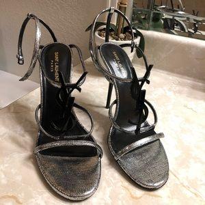 YSL Ankle strap silver metallic sandals